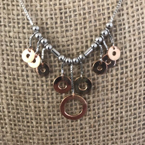 Jewelry - Sterling Silver And Rose Gold Plated Necklace